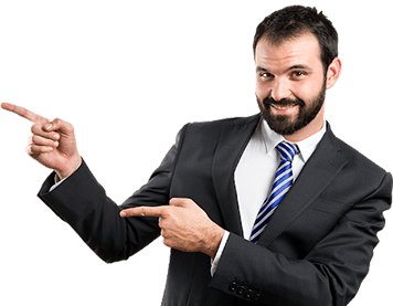 Business man pointing at Online Benefits Enrollment advantages.